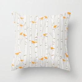 Birds & Birch - Orange Beige Throw Pillow