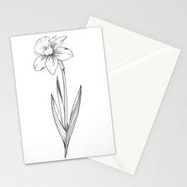 Daffodil Flower Line Art Stationery Cards