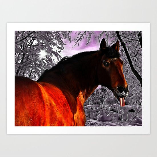 Funny Horse Pokes Out His Tongue Art Print