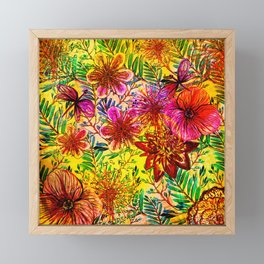 Tropical Hot Heat Flower Hibiscus Garden Framed Mini Art Print