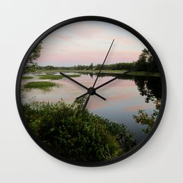Pennamaquan River at Sunset Wall Clock