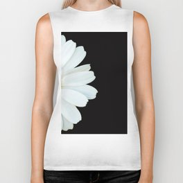 Hello Daisy - White Flower Black Background #decor #society6 #buyart Biker Tank