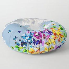 Butterflies in blue sky Floor Pillow