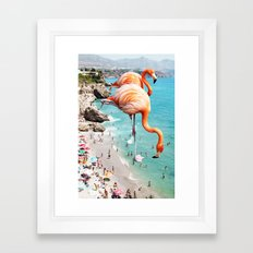 Flamingos on the Beach #society6 #decor #buyart Framed Art Print