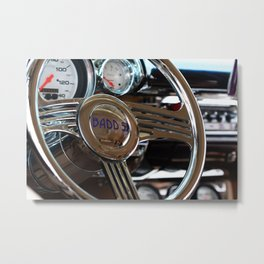 57 Chevy Steering Wheel and Dash Classic Car Photography Metal Print