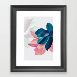 Pink and Blue Leaf Framed Art Print