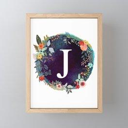 Personalized Monogram Initial Letter J Floral Wreath Artwork Framed Mini Art Print