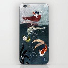 """Catfish"" - cute fantasy cat mermaids illustration iPhone Skin"