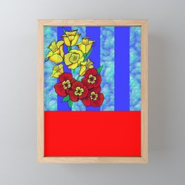 Blue and Red Floral pattern Framed Mini Art Print