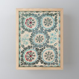 Ferghana Suzani  Antique North East Uzbekistan Embroidery Framed Mini Art Print