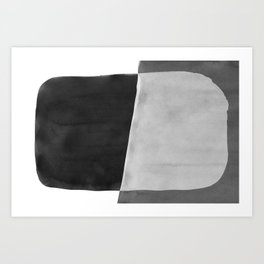 Minimal Black and White Abstract 06 Brushstroke Art Print