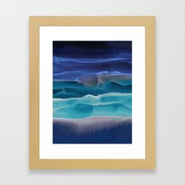 Alcohol Ink Seascape 3 - Sea at Night Framed Art Print