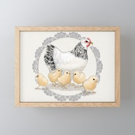 Mother Hen and Her Chicks in Crochet Wreath Framed Mini Art Print