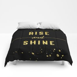TEXT ART GOLD Rise and shine Comforters