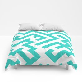 White and Turquoise Diagonal Labyrinth Comforters