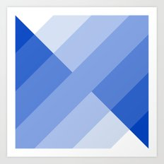 Blue and white angled Gradient Art Print
