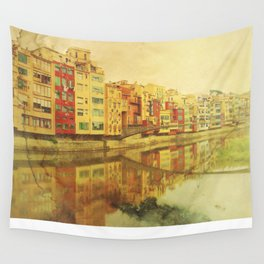 The river that reflects the city Wall Tapestry