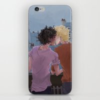 grantaire iPhone & iPod Skins featuring Enjolras, Grantaire and twilight over Paris by icarusdrunk