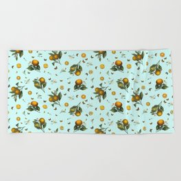Oranges and Butterflies on Mint Beach Towel