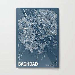 Baghdad Blueprint Street Map, Baghdad Colour Map Prints Metal Print
