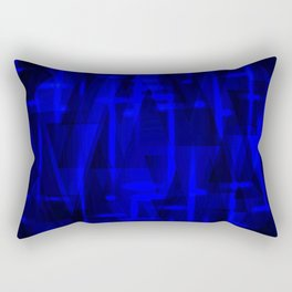 Bright dark blue highlights on marine triangles and metal stripes. Rectangular Pillow