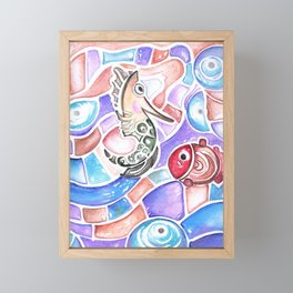 Cute Seahorse & Fish Framed Mini Art Print