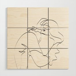 Couple continuous line draw Wood Wall Art