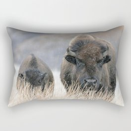 Bison with Calf in Snow Rectangular Pillow