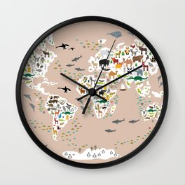 Cartoon animal world map, back to schhool. Animals from all over the world rosybrown background Wall Clock