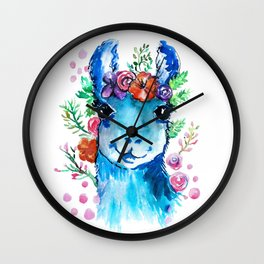Blue Llama Wall Clock