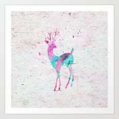 Pink and Turquoise Cute Deer Animal Watercolor Art Art Print