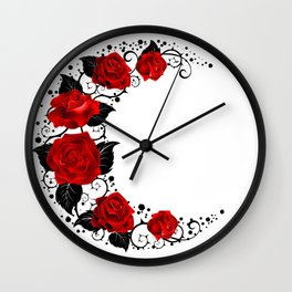 Moon of Red Roses Wall Clock