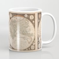 map of the world Mugs featuring World Map by Le petit Archiviste