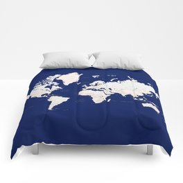 "Navy blue and light brown detailed world map ""Gavin"" Comforters"