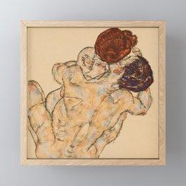 """Egon Schiele """"Mann und Frau, Umarmung"""" Framed Mini Art Print"""