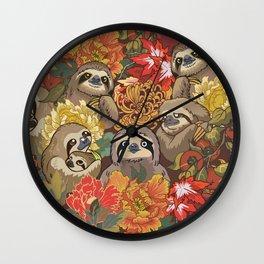Because Sloths Autumn Wall Clock