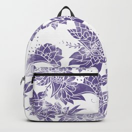 Modern hand drawn floral paisley illustration purple ultra violet watercolor Backpack