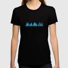 Blue Graphic Equalizer on Black T-shirt
