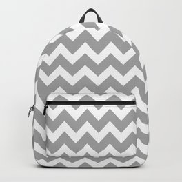 Grey and White Chevron Backpack