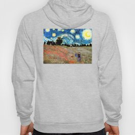 Monet's Poppies with Van Gogh's Starry Night Sky Hoody
