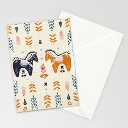 Horse Lovers Illustration // Digital Hand Drawn Horse, Dala Horse, and Folk Art Stationery Cards