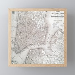Vintage New York City Map Framed Mini Art Print