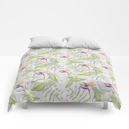 Watercolour Bird-of-Paradise Flowers and Leaves Pattern Comforters