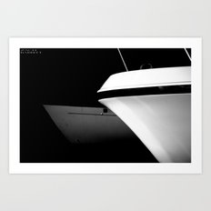 Black and White Boats Art Print