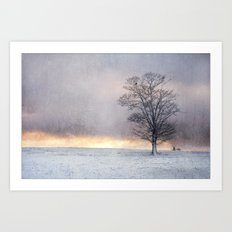 Winter Sunrise, Wramplingham, Norfolk Art Print