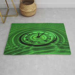 Hands of Time Light-Green Rippling Water Art Motif Rug
