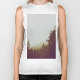Olive Green Sepia Misty Pine Forest Landscape Photography Parallax Trees Biker Tank
