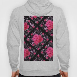 FUCHSIA PINK ROSE BLACK BROCADE GARDEN ART Hoody