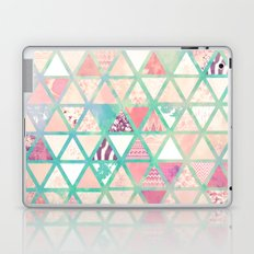 Pink Turquoise Abstract Floral Triangles Patchwork Laptop & iPad Skin