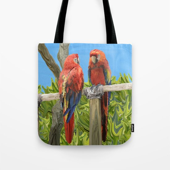 Scarlet Macaw Parrots Perching Tote Bag